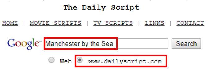 映画シナリオ(英語)の使い方_TheDailyScript入力画面
